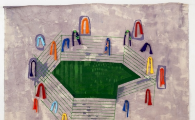 Sharon Butler, Stadium, 2014, pencil, pigment, binder, canvas, tshirts, 72 x 84