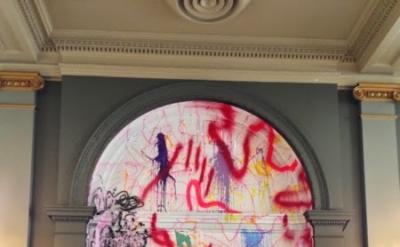 Sarah Cain, Runaway, 2013, acrylic, vinyl, and string on window and wall, dimens