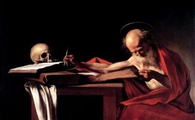 Caravaggio, St. Jerome Writing, c.1606, 44 × 62 inches (Galleria Borghese)