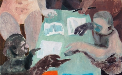 Ginny Casey, Paperwork, 2012, oil on panel 13 x 14 inches (courtesy of the artis