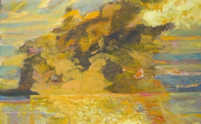 Bernard Chaet, Burnt Sienna Sky, 1999-06, oil on canvas, 30 x 37.75 inches (cour