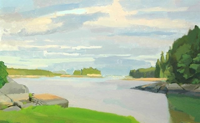Christopher Chippendale, Towards Little Thrumcap, oil on canvas, 30 x 30 inches,