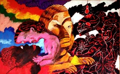 Robert Colescott, The Sphinx Speaks, 1993, acrylic on canvas, 84 x 72 inches (co