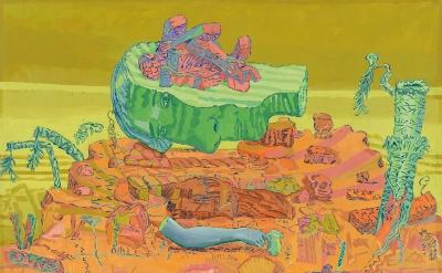 Dennis Congdon, Afrodite (serpentine), flashe & enamel on canvas, 94 x 107 inche