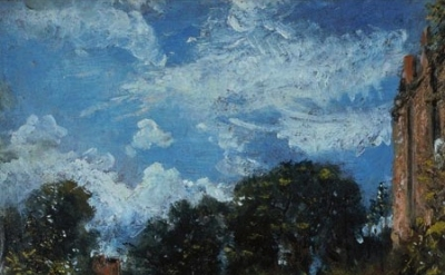 John Constable, Study of sky and trees, with a red house, at Hampstead (Oil sket
