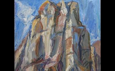Jane Culp, Cathedral Rocks, Badlands, 2013, oil on board,  24 x 20 inches (court