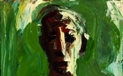 David Park, Bather with Green Sea, oil on canvas, 1958, 27 3/4 x 13 3/4 inches (