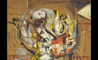 Alan Davie, opus O.107 Bubble Figure No.1, 1954, oil on masonite, 46 x 39 inches