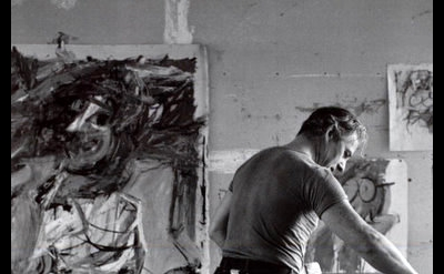 Tony Vaccaro, Willem De Kooning painting in East Hampton, L.I. studio, 1953