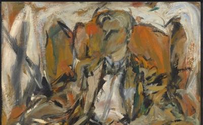 Elaine de Kooning, Willem de Kooning, c. 1952, oil on panel, 38 5/8 x 25 1/2 x 1