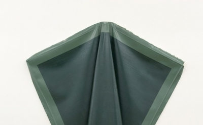 Angela de la Cruz, Deflated Green, oil on canvas, 153 x 180 cm (courtesy of Fold
