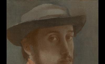 Edgar Degas, Self-Portrait, c. 1857–1858, oil on paper mounted on canvas, 26 x 1