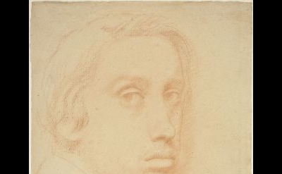 (detail) Edgar Degas, Self-Portrait, c. 1855-57, red chalk on laid paper (courte