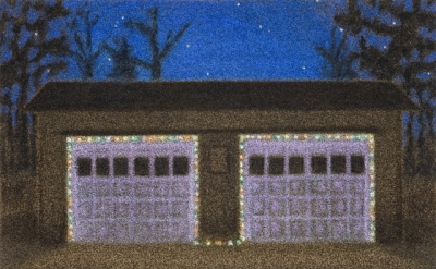 Jane Dickson, XMas 2-Car Garage, 2006–08, oil on astroturf, 40 x 56 inches (cour