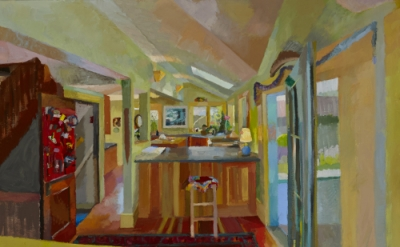 Suzanne Dittenber, Jackie's Kitchen, 2013, oil on canvas, 80 × 48 inches (courte