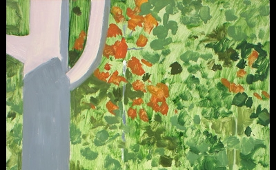 Lois Dodd, Tree + Shadow, 2013, oil on masonite, 20 x 12 inches (courtesy of Ale