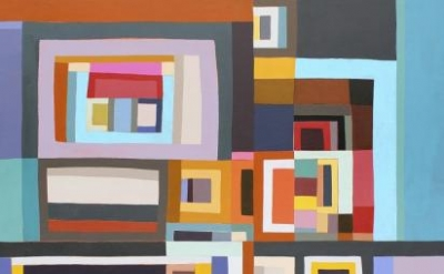 Karen Dow, Loop Hole , 2012, 48 x 44 inches, acrylic on canvas on panel (courtes