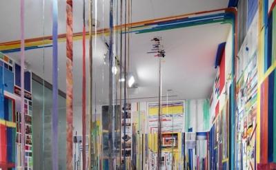 Franklin Evans, paintthinks, 2013, acrylic on canvas, digital prints, lamination