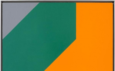 Frederick Hammersley, Me and thee, oil on linen, 24 x 24 inches, 61 x 61 cm, cou