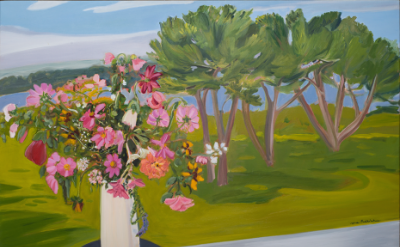 Jane Freilicher, Flowers and Pine Trees, 1983, oil on linen, 33 x 41 inches (col