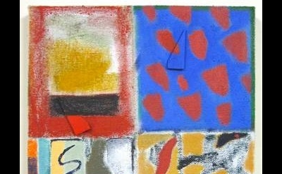 Ted Gahl, Four Rooms, acrylic and stretcher keys on drop cloth 11 x 14 inches, 2