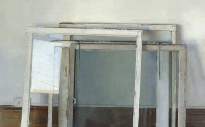 Christopher Gallego, Windows, 2005, oil on canvas, 48 x 54 inches (courtesy of t