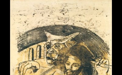 Paul Gauguin, Tahitian Woman with Evil Spirit, c. 1900, oil transfer drawing, 22