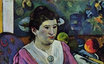 Paul Gauguin, Portrait de femme à la nature morte de Cézanne, 1890, oil on can