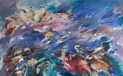 Sonia Getchoff, The Beginning, 1960, oil paint on canvas, 69 x 83 inches (Denver