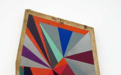 Jeffrey Gibson, Untitled, 2012, goat hide covered wood panel, graphite and color