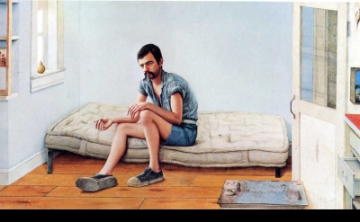 Gregory Gillespie, Self-Portrait on Bed, 1973-74, oil and magna on wood, 48 x 84