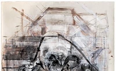 Judith Glantzman, Shakespeare's Pirate, 201, gesso, acrylic, walnut ink, india i