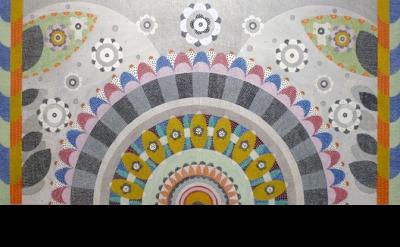 Glenn Goldberg, Eighth Elixir, 2011 Acrylic, ink and gesso on canvas 42 x 84 inc