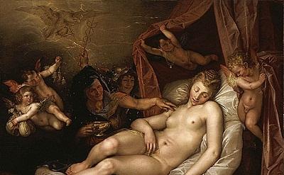 Hendrik Goltzius, The Sleeping Danae Being Prepared to Receive Jupiter, 1603, (L