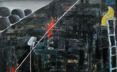 Brenda Goodman, Untitled (b2), 2012, oil on wood, 72 x 72 inches (courtesy of Jo