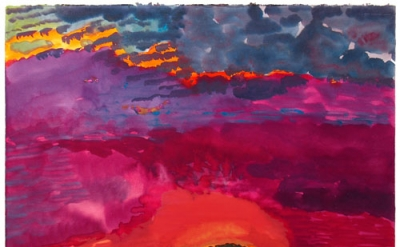 Graham Nickson, Traveler: Red Sky, 2001, watercolor on paper, 22 x 30 inches, co