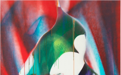 Katharina Grosse, Untitled, 2016, acrylic on canvas, 114 3/16 × 76 inches (© Katharina Grosse und VG Bild-Kunst Bonn, 2017, Photo by Jens Ziehe)