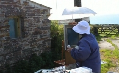 Josephine Halvorson painting on location (screen capture, © Art21, Inc. 2012)