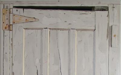 Josephine Halvorson, Woodshed (Door), 2013, oil on linen, 70 x 35 inches (courte