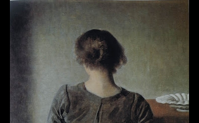 Vilhelm Hammershøi, Resting, 1905, oil on canvas, 19 1/2 x 18 1/4 inches
