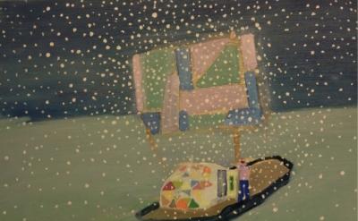 Tom Hammick, Raft Study, acrylic on board, 38 x 46 cm (courtesy of Phoenix Brigh