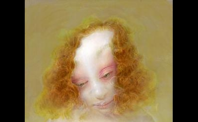 Anne Harris, Portrait (Pink Eyelid), 2010, oil on linen covered panel, 11 7/8 x