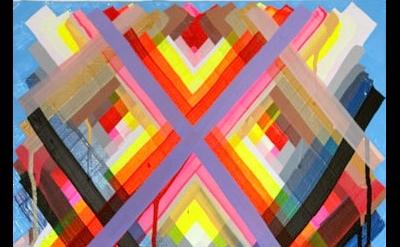 Maya Hayuk, Remain in Light #7, 2013, acrylic on panel, 16 X 20 inches (courtesy
