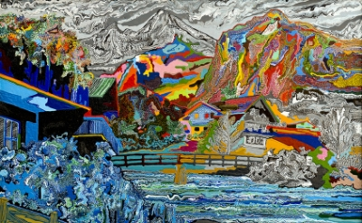 Cham Hendon, Mountain Chalet, 2003, acrylic and rhoplex on canvas, 42 x 60 inche