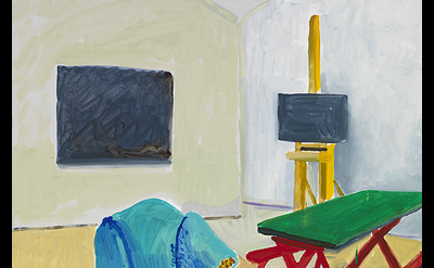 David Hockney, Studio Interior #1, 2014, acrylic on canvas, 72 x 48 inches (© Da