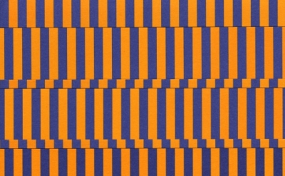 Gilbert Hsiao, Quad Band, 2011, purple and orange cut paper on purple and orange