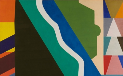 Shirley Jaffe, The White Line, 1975, oil on canvas, 77.25 x 85 inches (courtesy
