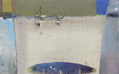 Merlin James, Marine Painting, 2014-15, acrylic on canvas, 28 x 21 inches (court