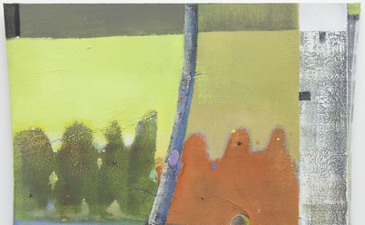 Merlin James, Silver Birch, 2014-15, acrylic on canvas, 33 x 32 inches (courtesy