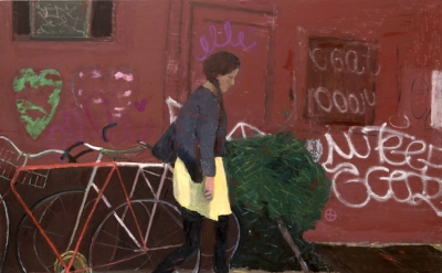 Elisa Jensen, Yellow Skirt, Brooklyn, 2014, oil on linen, 52 x 78 inches (© Elis